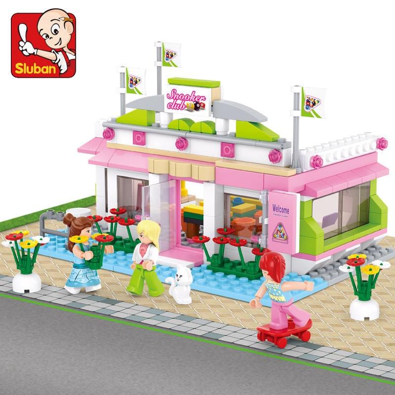 SLUBAN 289Pcs Girl Friends Billiard Club Figure Blocks Construction Building Bricks Educational Toys For Children Christmas Gift