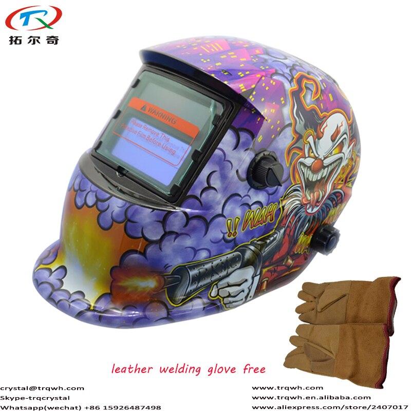 TRQWH Solar Tig Schweiß Helm Auto Verdunkelung 2 Arc Sensoren mit Lila Monster Design Gelb Beständig Schweißen Handschuh TRQ-HD03