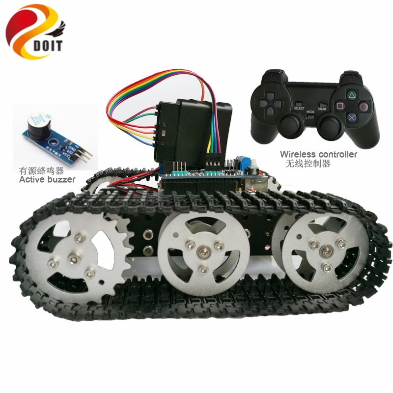 Wireless Control Smart RC Robot Kit By PS2 Joystick Tank Car Chassis With Arduino Uno R3 Motor Shield DIY Game Playstation enlarge
