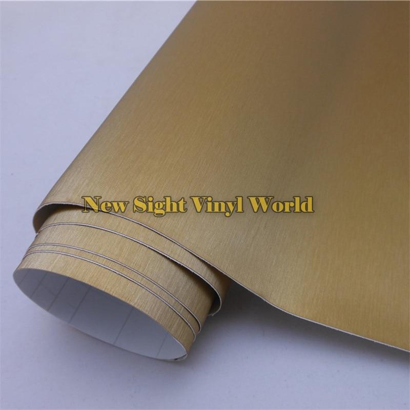 O ouro de alta qualidade escovou o vinil do envoltório de alumínio para decalques do carro com bolha de ar tamanho livre 1.52*30 m/rolo