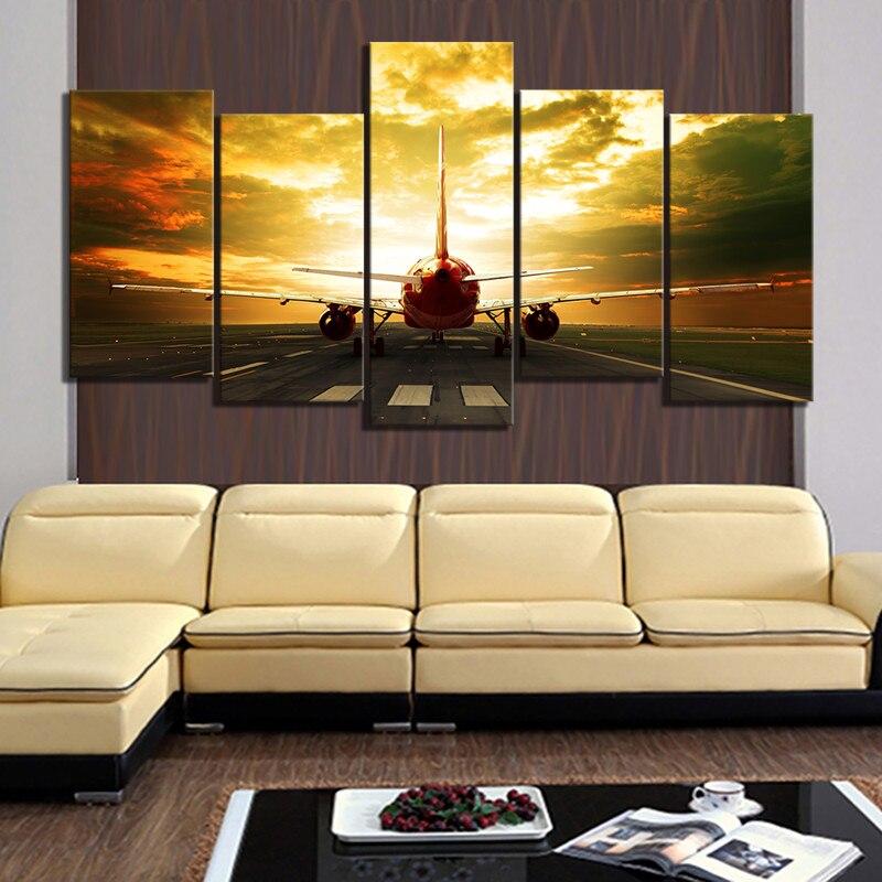 5 piezas de fotos de aviones militares HD pinturas de aviones póster de avión lienzo pinturas paisaje arte de pared para la decoración del hogar