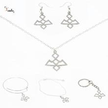 Hibou grotte symbole collier ton argent talisman Twin pics emblème amulette acier inoxydable bijoux porte-clés bracelet boucle doreille