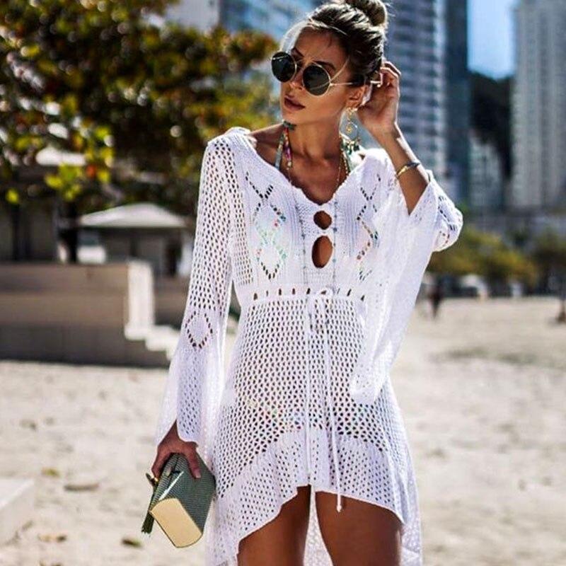 ¡Novedad de 2019! traje de baño veraniego tejido a croché para cubrir la playa, Sexy vestido transparente para la playa