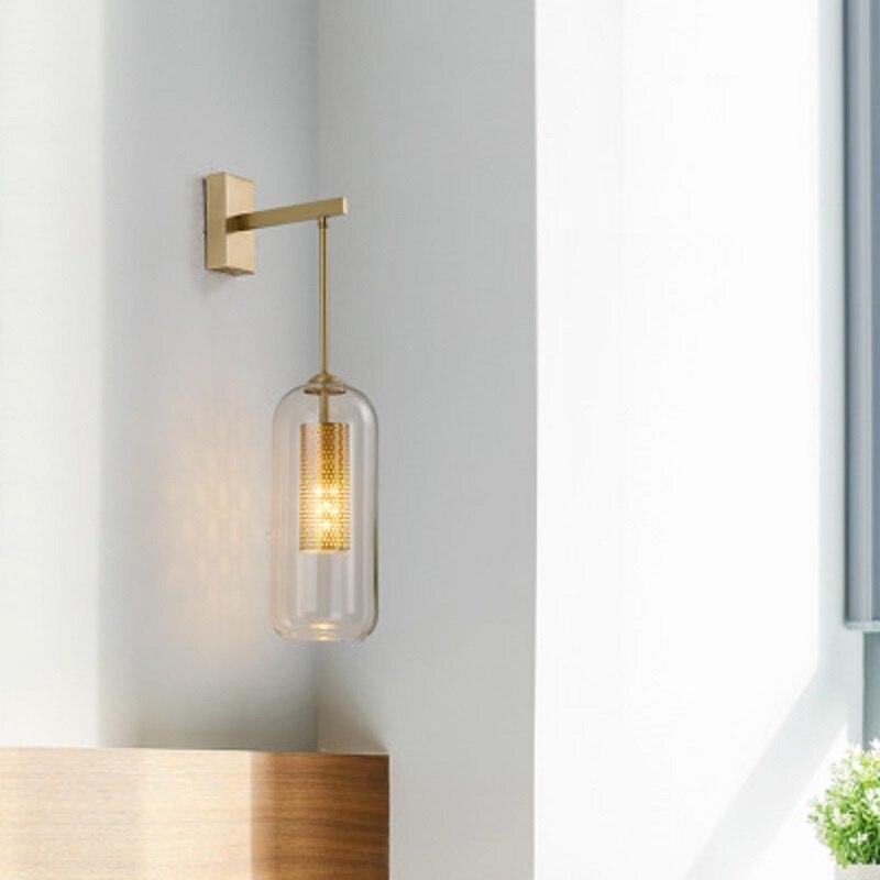 Lámpara LED de cobre para pared LukLoy, aplique posmoderno minimalista, aplique de pared para dormitorio nórdico, luz de cabecera, luz creativa de lujo para sala de estar