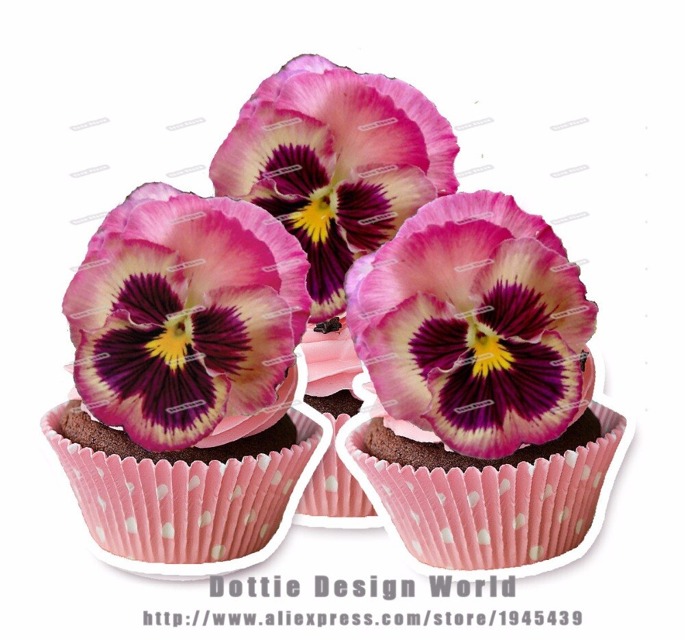 24 Rosa viola Pansies flor comestible torta topper papel de arroz oblea Pancy Cupcake topper pastel de boda cumpleaños decoración proveedor