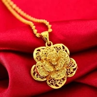 filigree flower pendant chain yellow gold filled wedding womens accessories