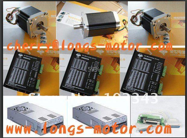 Motor paso a paso de 3 ejes Nema34 880ozin (2 piezas) y 1232ozin (1 unidad), controlador de motor paso a paso DM860A para Control de molino CNC