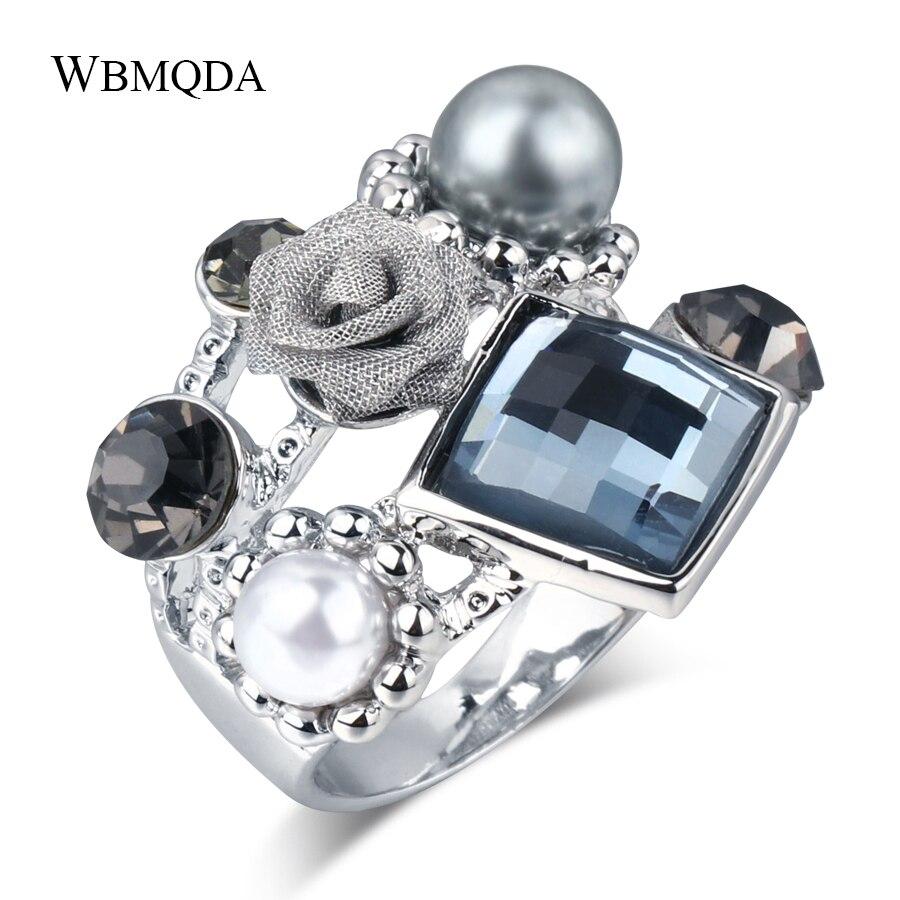 Schwarz Rose Perle Ring Geometrische Kristall Gothic Ringe Für Frauen Größe 6 7 8 9 Mode Schmuck 2018