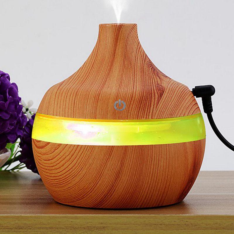 Humidificador USB de aromaterapia de grano de madera de 300ML de gran calidad, purificación de agua, difusor de aroma de aceite esencial creativo