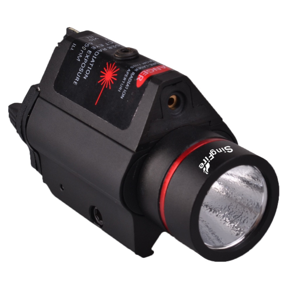 SingFire SF-P05 5mW الأحمر ليزر بندقية البصر w/جبل + LED التكتيكية مسدس يدوي-أسود (2 x CR123A)
