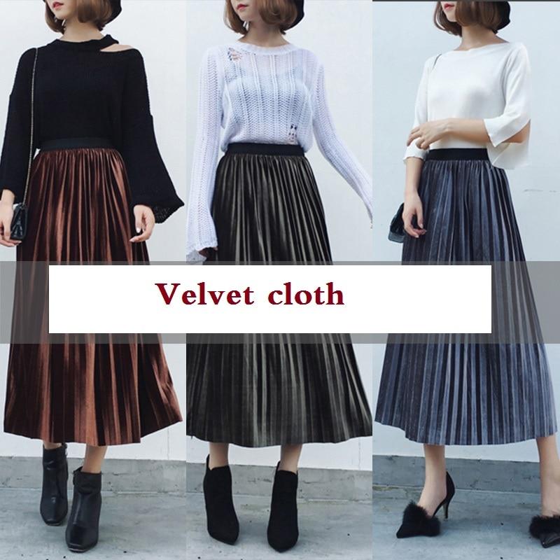 Autumn and winter velvet cloth velvet 100 fold Korea DIY fashion fabric wrinkle wrinkle accordion pleated skirt