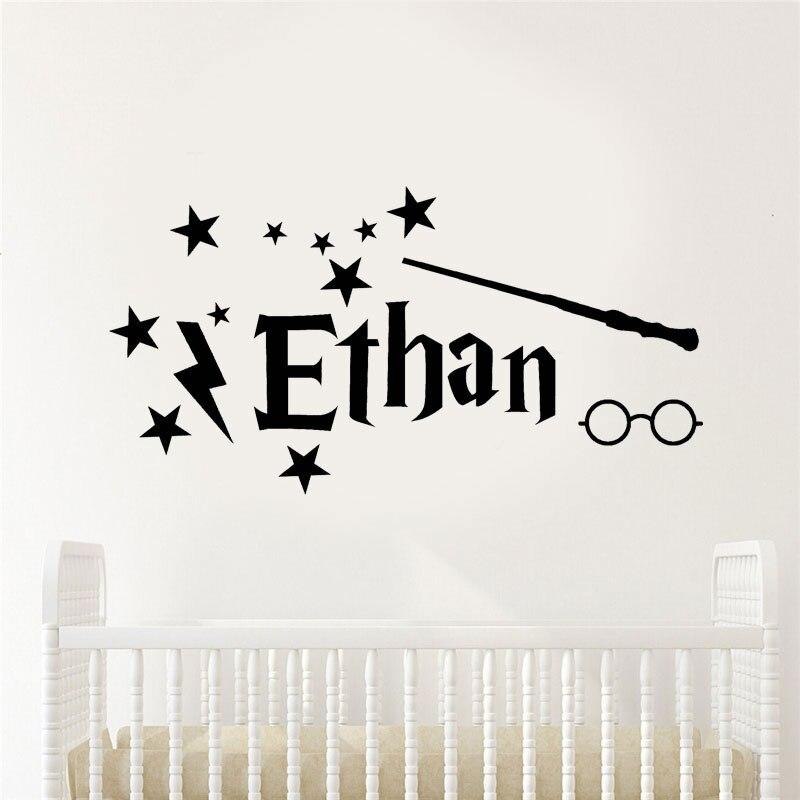 Персонализированные именные виниловые наклейки на стены, домашний декор для детской комнаты, наклейки с именем Гарри детская комната, съем...
