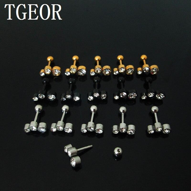 Regalo 1,2*6*4/(2*3*4)mm acero inoxidable quirúrgico 3 cristales titanio plateado colores oreja tragus piercing pendiente nuevo