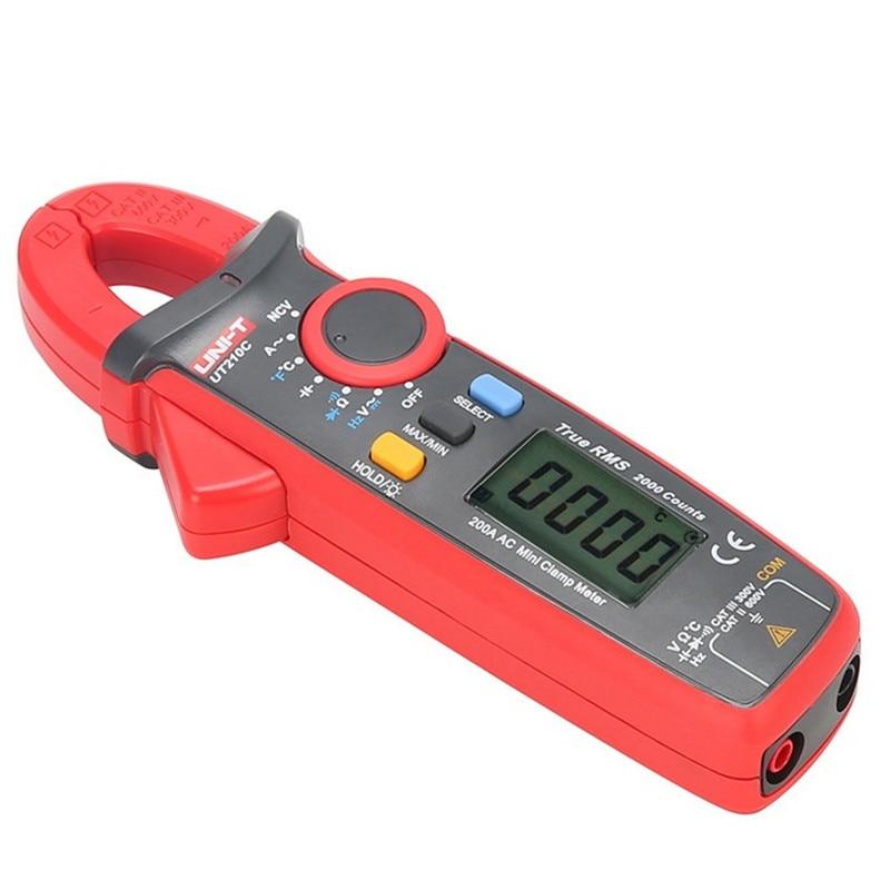 UNI-T medidores de braçadeira ut210c digital medidor de braçadeira true rms auto-range braçadeira medidor de teste de temperatura ac dc braçadeira multímetro