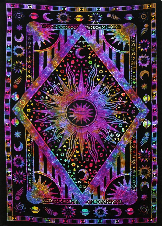 Хиппи, психоделический Небесный мандала, луна, солнце, гобелен, настенный большой индийский богемный гобелен в стиле хиппи, декор из ткани