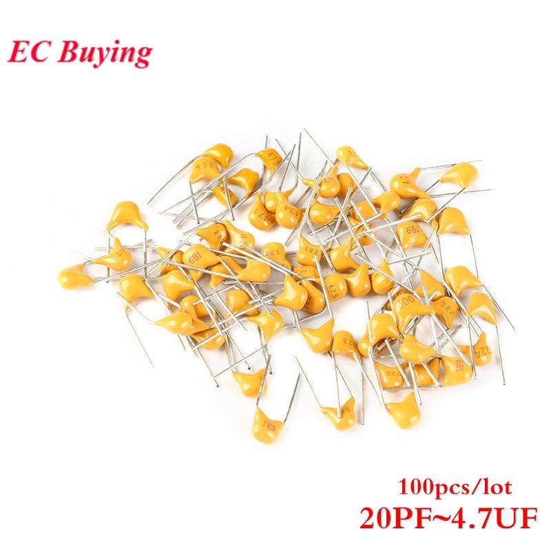 100 pces 50 v capacitor cerâmico monolítico 20pf ~ 4.7 uf 22pf 47nf 220nf 1nf 4.7 uf 1 uf 100nf 330nf 102 103 104 105 473 681 5.08mm