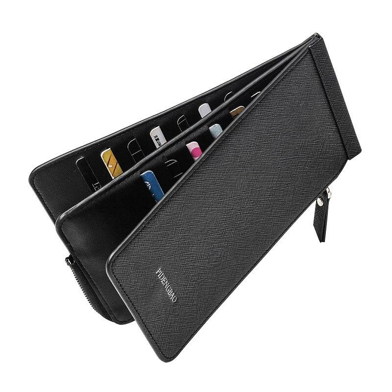 Женский/мужской длинный карман бумажник на молнии, держатель для карт, тонкий кошелек, кошелек для монет, карт, кошелек для билета, сумка для карт, чехол-35