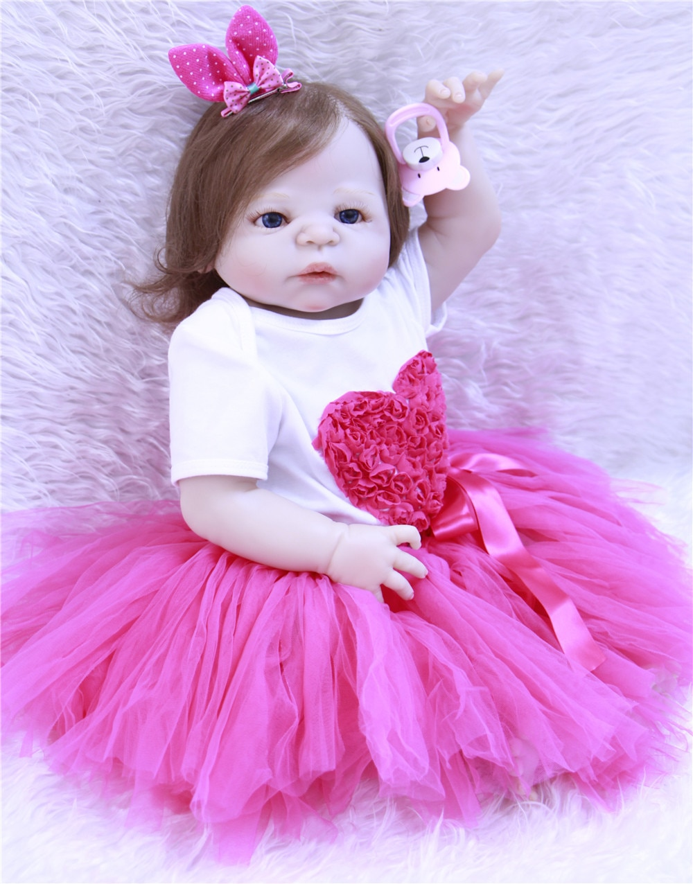 Bebes Reborn 22 pulgadas 55cm Full silicone reborn muñecas bebé como pelo humano real enraizado reborn pupé enfant niño regalo Juguetes