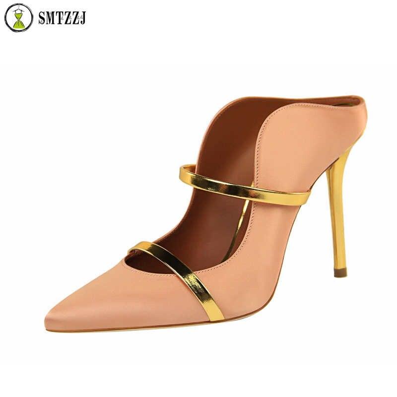 Marca de lujo de 2019 mujeres Bling elegante Sexy de fiesta Zapatos Sandalias de zapatilla y al aire libre diapositivas Plus tamaño