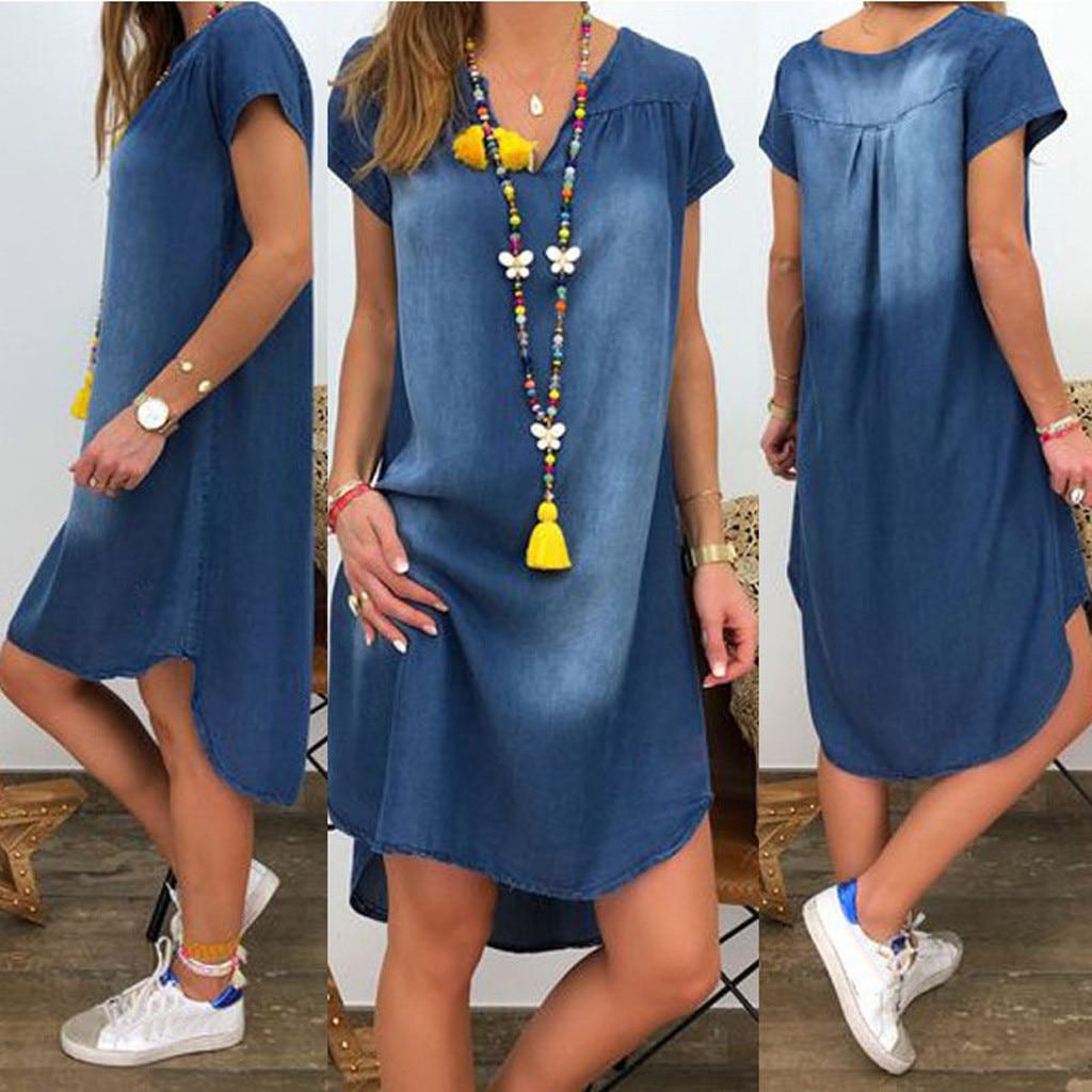 Женское летнее платье, повседневное, с v-образным вырезом, длинные джинсовые вечерние платья с коротким рукавом, в стиле бохо, сексуальное платье, уличная одежда, сарафан, Robe femme