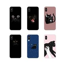 Black Cat Staring Eyes Pattern Animals Art Soft Skin Case For Samsung Galaxy S4 S5 MINI S6 S7 edge S8 S9 S10 Plus Note 3 4 5 8 9