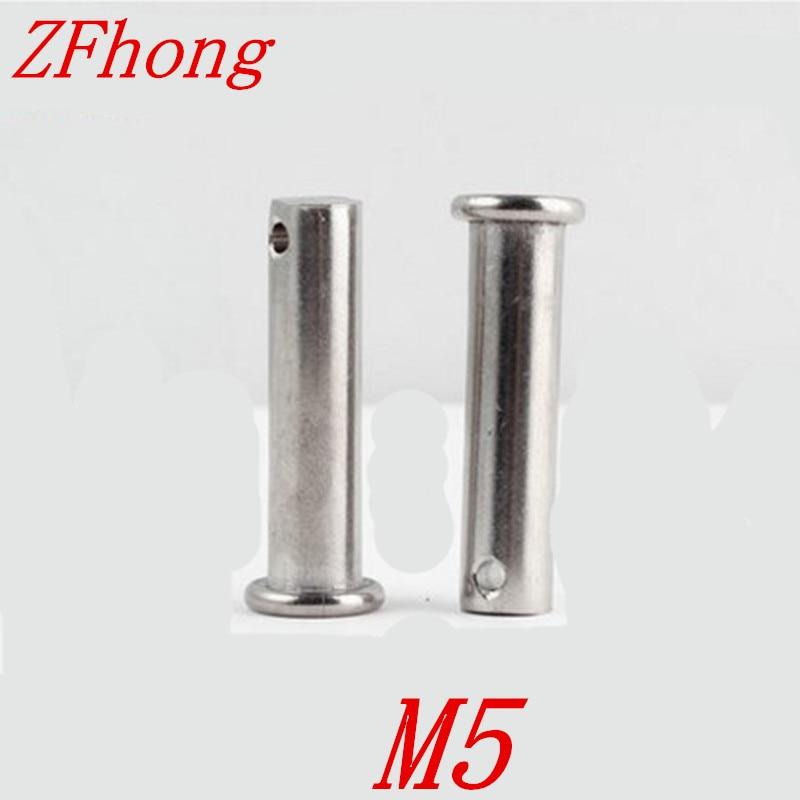 20 piezas M5 * 10/12/16/20/25/30/35/40/45/50/55/60 Acero inoxidable pasador cilíndrico de cabeza plana con agujero