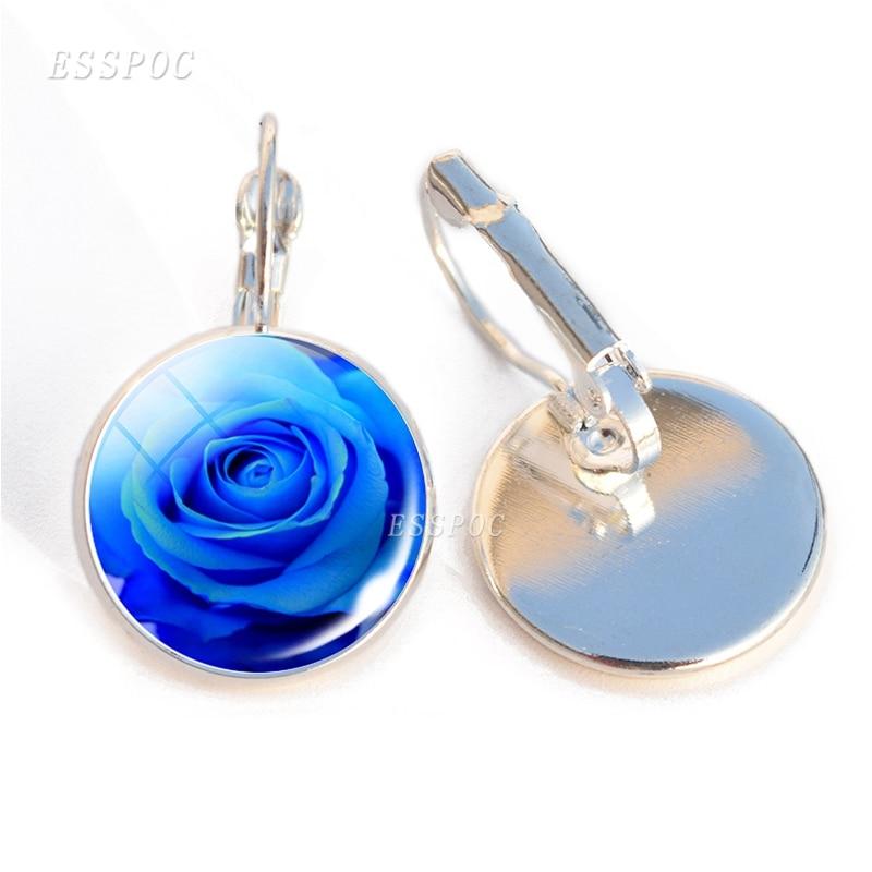 Pendientes de moda de mujer Diy azul hechicera gancho flores joyería Rosa foto cristal gancho de cabujón pendientes hechos a mano regalos para ella