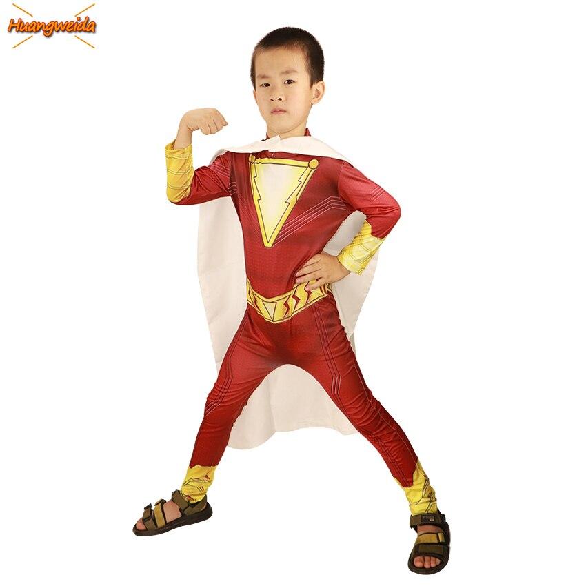 2019 película Shazam disfraces niños Halloween disfraz Zentai Billy Batson superhéroe Cosplay traje niños Bodysuit Zentai vestido de fantasía
