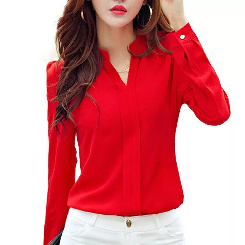 Camisa de manga larga para mujer, ropa de otoño, blusa de chifón ajustada a la moda con cuello en V, camisas de oficina para mujer de estilo coreano elegante, color blanco, rojo DF2324