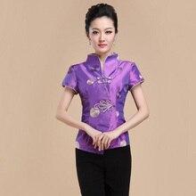 Brand Nieuwe Collectie Fashion Paars Korte Mouwen Chinese Traditionele Vrouwen Blouses Feestelijke Tops Ml Xl Xxl 3XL 080607