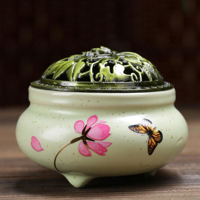 Quemador de incienso de cerámica vaso con cubierta del loto de bronce + 1 Uds soporte de incienso hecho a mano pintura Incenso Wierook Waterval