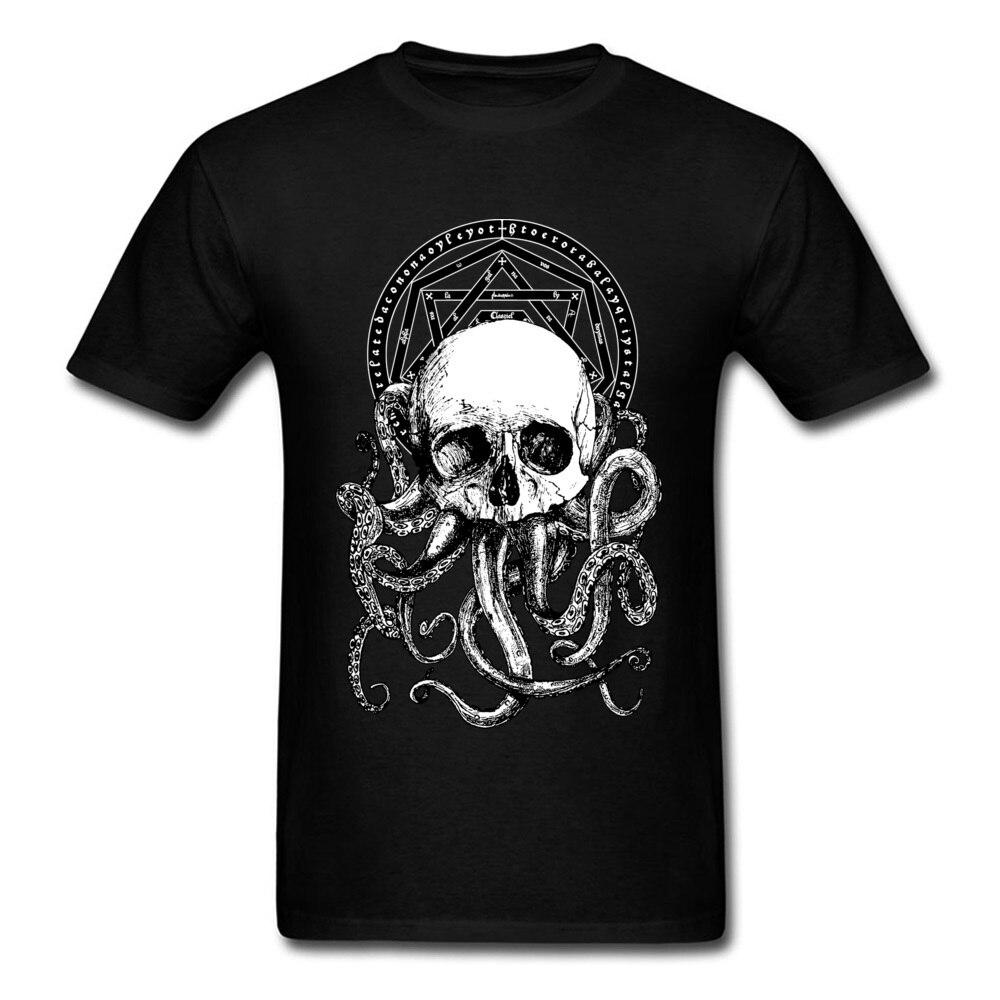 Футболки Cthulhu, мужские черные футболки с принтом черепа и осьминога, хлопковые футболки в винтажном стиле, Прямая поставка