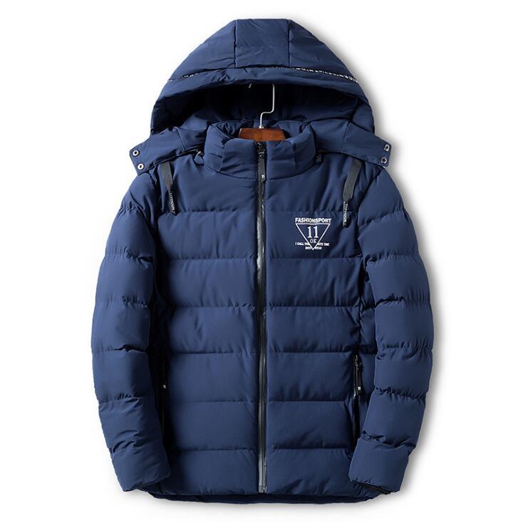 Новинка 2019, мужские зимние пальто с мехом, модные повседневные пуховики с капюшоном, куртка 0607-006