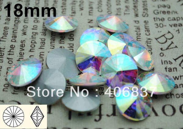 100pcs/Lot, 18mm Crystal AB / Clear AB Rivoli Crystal, Free Shipping! Chinese Top Quality Crystal Rivoli