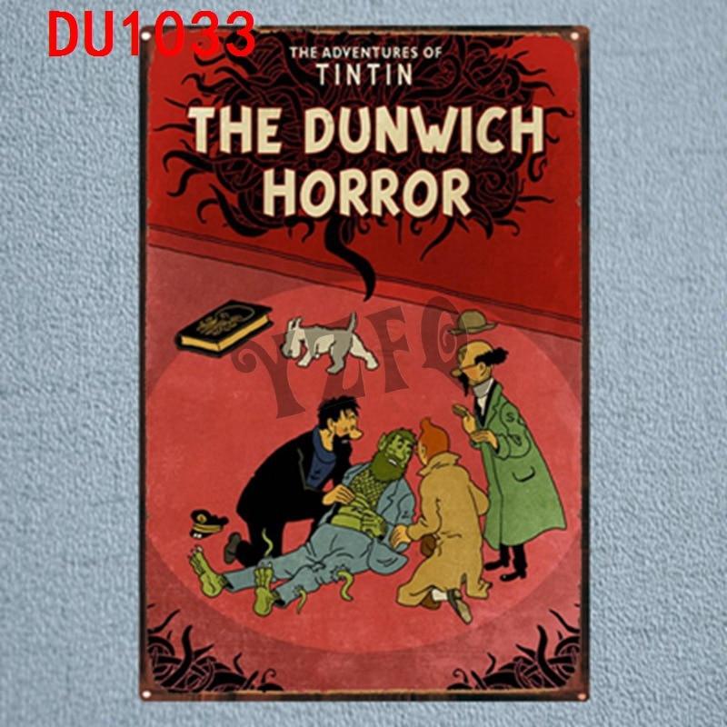Tintin Cartoon Tin Signs  Metal Plate Wall Pub Kid's Room Home Art Party Decor Vintage Iron Poster Cuadros DU-1033