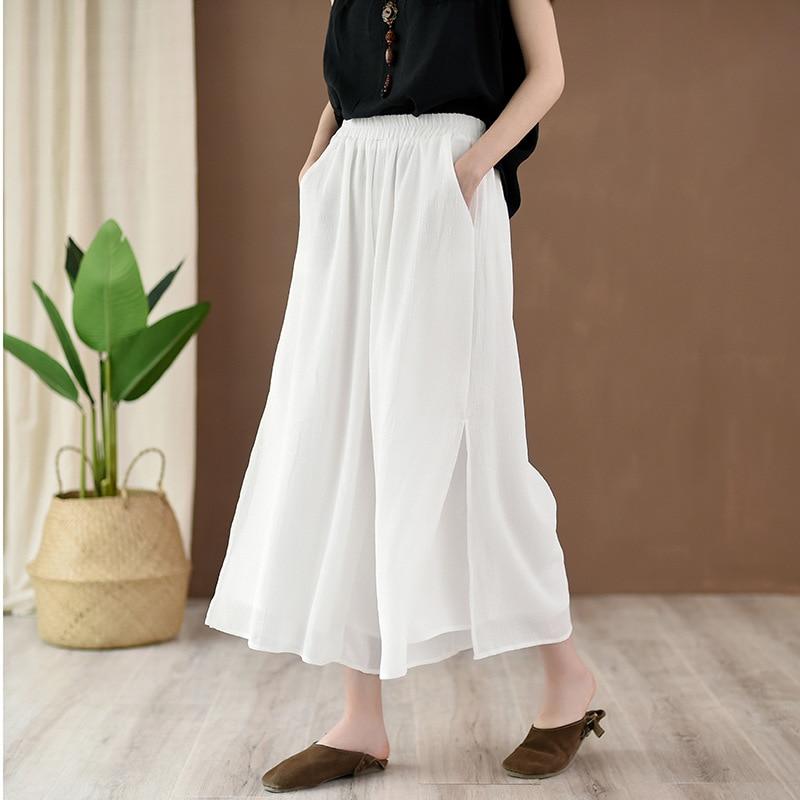 Pantalones blancos de mujer de Color puro sueltos de Aransue nuevo verano 2019