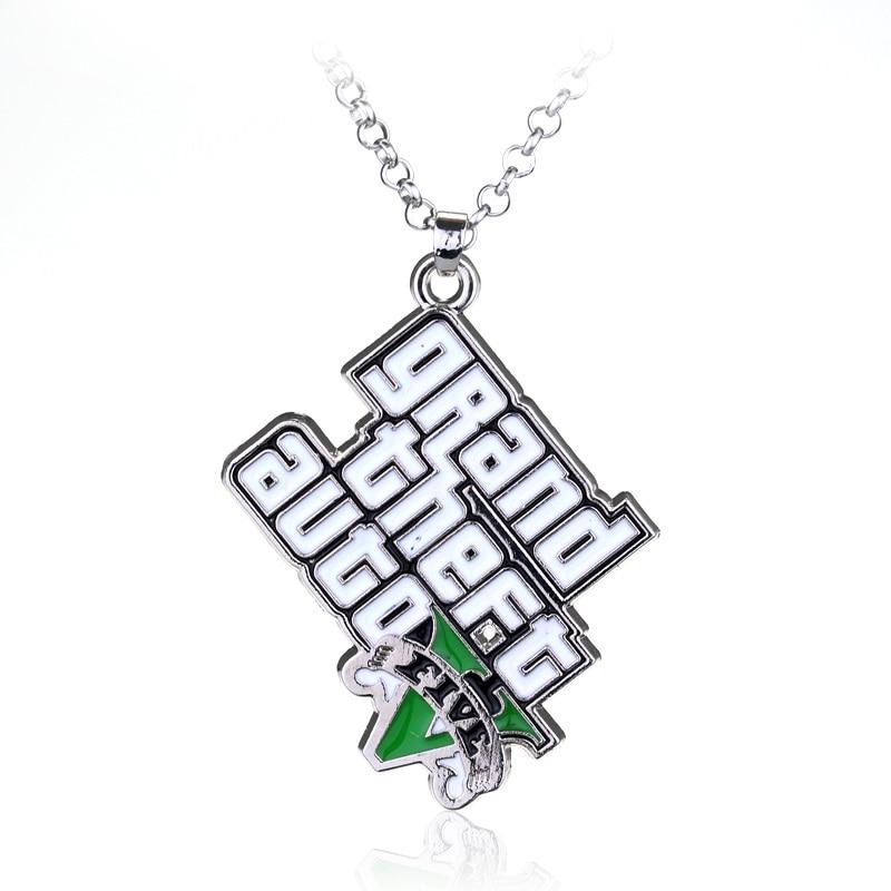 Hot Sale Classic Game PS4 GTA 5 Necklace Grand Theft Auto Pendants Necklaces For Men Fans V Logo Pendant Statement Necklace