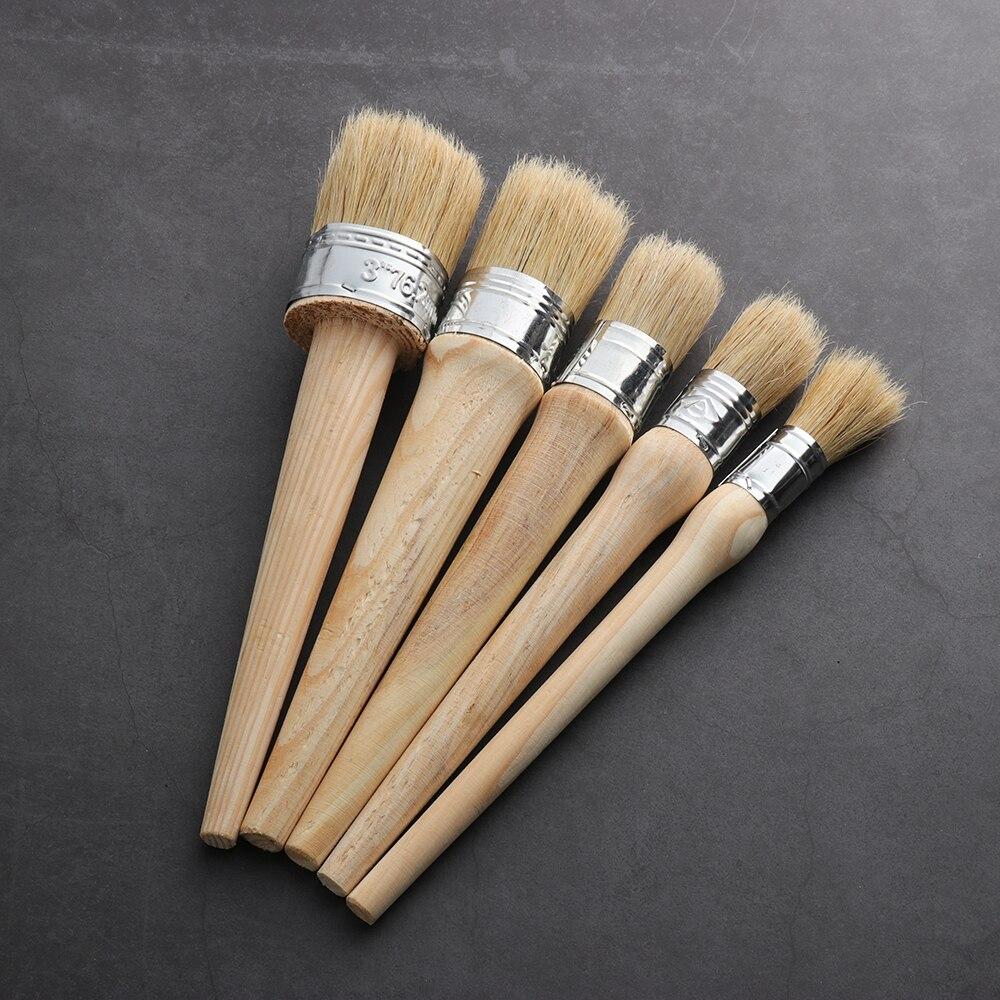 1PC kreda farba pędzel do wosku do malowania lub woskowania meble szablony Folkart Home Decor drewno duże szczotki z naturalne włosie