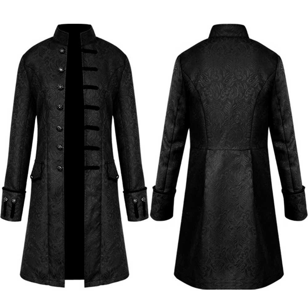 Abrigo informal de manga larga de Estilo Vintage para hombre, abrigo informal de color sólido, prendas de vestir, botones, abrigo largo de talla grande, negro, azul