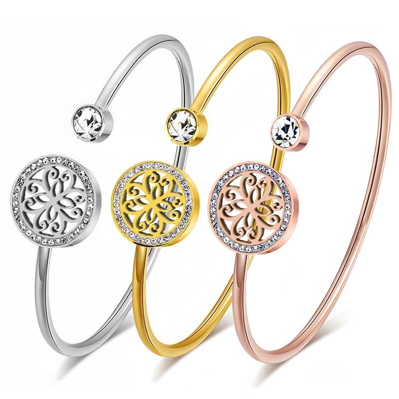 Классические открытые браслеты-манжеты из нержавеющей стали, браслеты для женщин, серебряный цвет/золотой цвет/розовое золото, золотой цве...