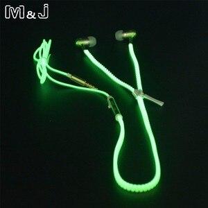 Горячая распродажа! Светящиеся наушники M & J, светящиеся металлические наушники на молнии в темноте для Iphone, Samsung, Xiaomi, MP3 с микрофоном