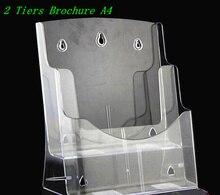 Porte-présentoir plastique A4 à 2 niveaux, Brochure acrylique
