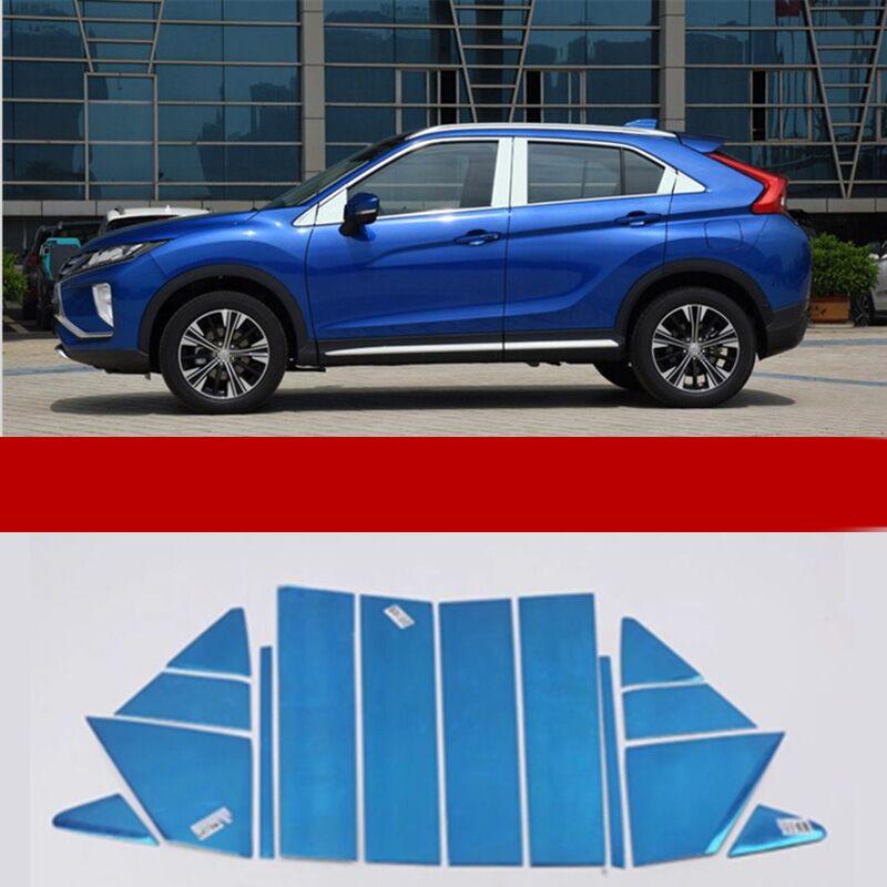 Ajuste para las cubiertas de molduras de poste del pilar de la ventana del coche del acero inoxidable de Mitsubishi Eclipse Cross accesorios externos del coche 2018 2019
