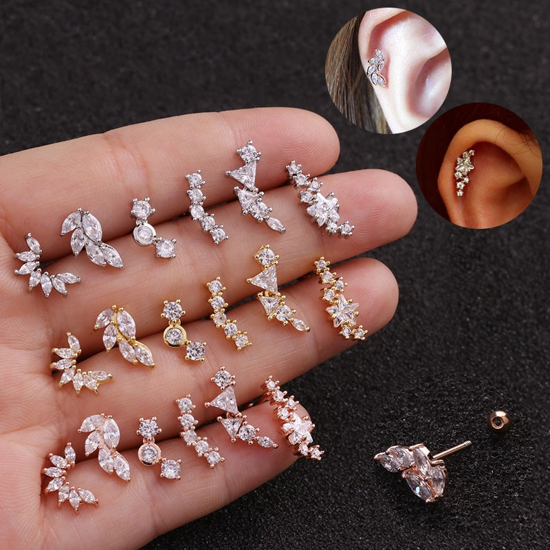 Imixlot Cross Heart Flower Crown Cz Ear Studs Helix Piercing Cartilage Earring Conch Rook Tragus Stu