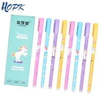 12pcsset unicorn erasable pen blue black ink writing pens washable handle for school office stationery supplies exam spare
