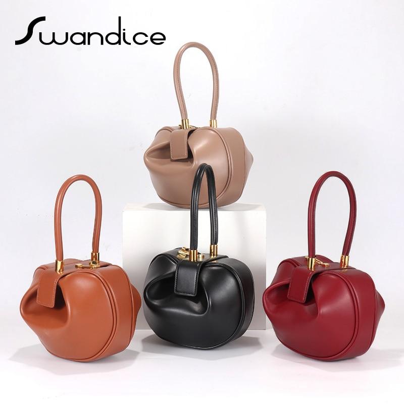 2020 real couro genuíno do vintage forma sino travesseiro barril redondo bolsas de noite sacos de pulso feminino nicho bolsa