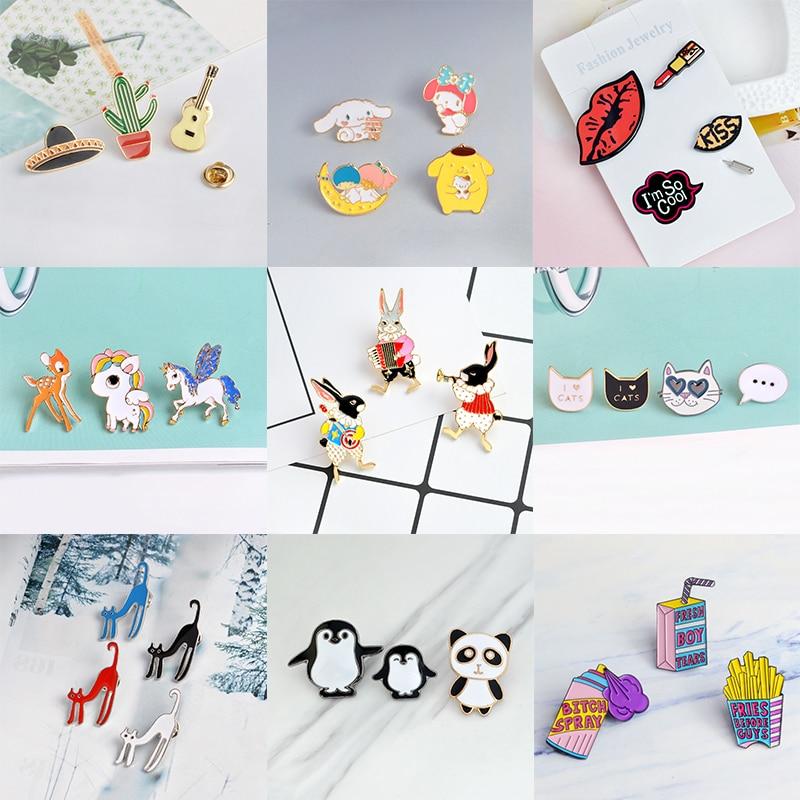 9 conjuntos de desenhos animados aminal esmalte pinos gato estranho bonito cavalo jogar coelho broches para mulheres batom lábio impressão lapela pino distintivo jóias