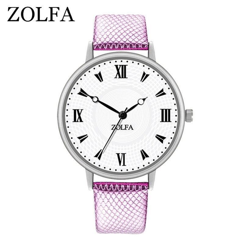 ZOLFA New Roman Design Leather Simple Watches Women Watches Exquis Korean Casual Business Watch Wemen Watches Blood Pressure #A