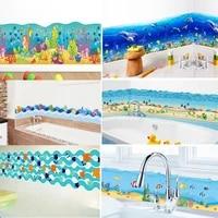 Autocollants de poisson de dessin anime  decor de maison  paysage sous-marin  Art Mural  salle de bains  decoration de cuisine