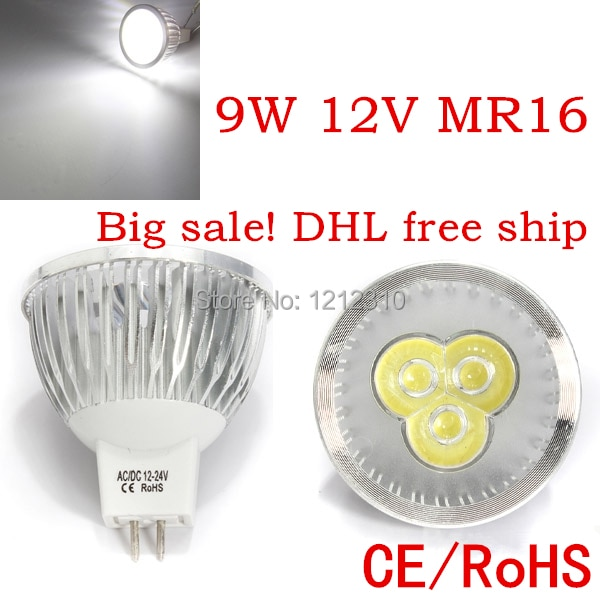 Factory directly sale 100pcs/lot CREE Bulb led bulb MR16 9w AC/DC 12V Dimmable led lamps Light spotlight free shipping
